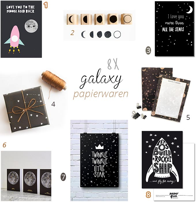 8x galaxy stationery (maan en sterren)