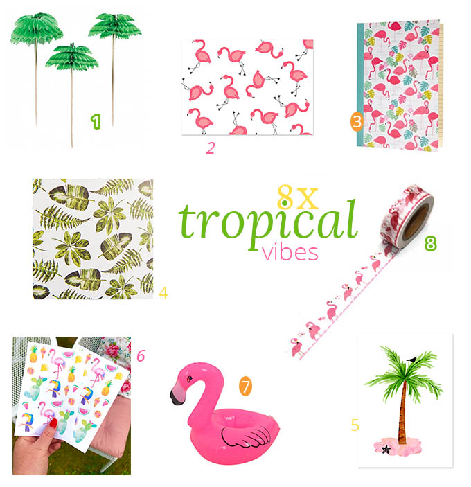 8x tropical vibes: flamingo's & palmbomen