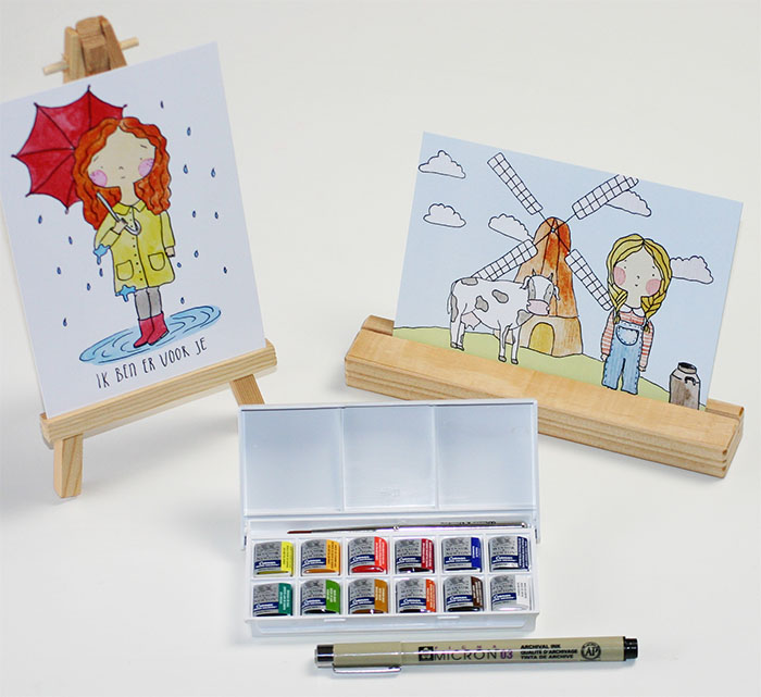 Muchable ansichtkaarten met aquarel illustraties