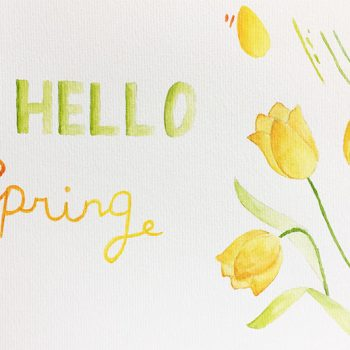 Wallpaper Hello Spring aquarel