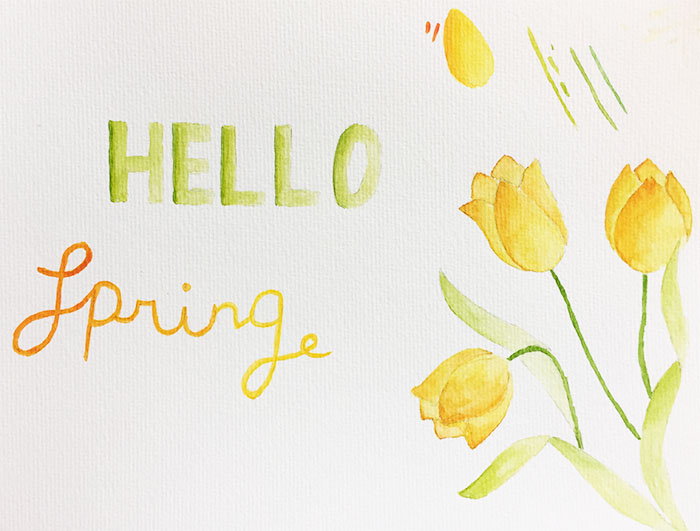 Hello Spring! Gratis wallpaper met aquarel
